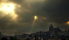 Sunbeams over Prague (*Lolly*) Tags: prague city europe clouds sunbeams light summer canon