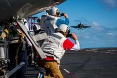 170413-N-VN584-196 (U.S. Pacific Fleet) Tags: usstheodoreroosevelt cvn71 alex corona vn584 underway strikefightersquadron vfa 94 maintenance fa18fhornet mightyshrikers jet landing dvs distinguishedvisitors