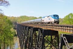 Madison Heights, Virginia (UW1983) Tags: trains railroads amtrak northeastregional bridges lynchburg virginia passengertrains
