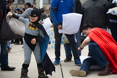 Superheros Collide (Photo Oleo) Tags: batman 2017 candid nathanphilipssquare fight superman street pillow newmindspace