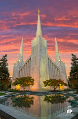 Portland LDS Temple (Chris Ross Photography) Tags: d800 portland temple lds sacred holy sunrise sky granite white moroni reflection