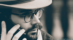Portrait (Natali Antonovich) Tags: portrait sweetbrussels brussels belgium belgique belgie phone grandplace glasses hatisalwaysfashionable hat hats lifestyle tradition monochrome