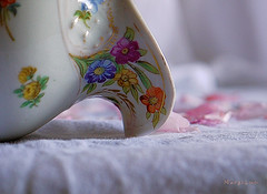 Vintage Pottery ... (MargoLuc) Tags: macromondays theme glaze macro white ancient pottery painted bokeh cherry flowers petals