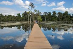 Jayatataka Baray, Siem Reap (Alenius) Tags: angkor wat siem reap cambodia asia old ancient temple temples ruin ruins khmer medeival hindu buddhism buddhist bridge lake water reflection clouds sky