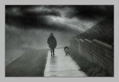 Demonstration of Love (Christina's World aka Chrissie Bee) Tags: blackandwhite monochrome border man dog walking rain fog weather texture clouds street magicunicornverybest