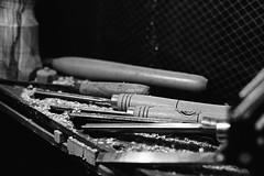 Woodworking Chisels (Federico Pitto) Tags: bw genova vicoli nikonfe2 nikkor50mm14 d76 pushprocess trix