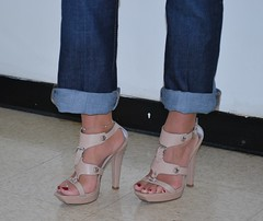 Pretty sandals (Jaylynn's Best Feeture) Tags: sexy sandals sandalias footfetish feet female foot toes toering jeans jeanshighheels highheels heelfetish ankles arches