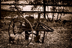 How Now Old Plow? (Danny Shrode) Tags: farm outdoor sepia tool wheel