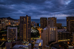 Honolulu from an apartment rooftop (davidgevert) Tags: d800 nikond800 nikon nikon24mmf35pce bluehour twilight cityscape nightcityscape tiltshift nikonpce pce bluehourcityscape longexposure honolulu diamondhead hawaii oahu travelphotography davidgevert gevertphotography