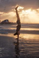 (Rebecca812) Tags: girl carwheel handstand carefree beach house alabama dauphinisland sunrise beauty nature sun reflection strength childhood travel birds portrait people fulllength canon rebecca812
