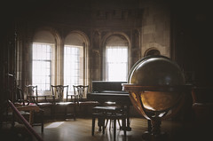 Bamburgh Castle - State Rooms (LD PIX) Tags: bamburgh castle northumberland state rooms globe drawing room ornate shadows light heritage british leather tapestry history historical uk antique view glass shining through fireplace plates tables teak roof woordwork panelling piano