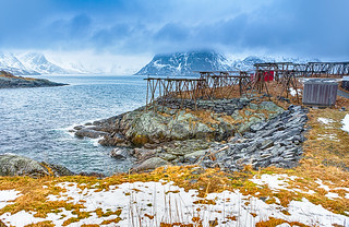 Travel Concepts and Ideas. Seashore Outskirt of Hamnoy Fishing Village With Wooden Constructions for Cod Drying in Norway.