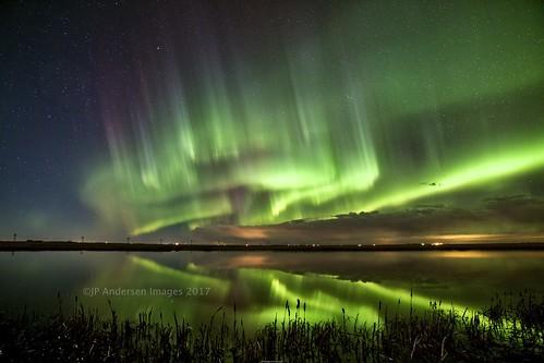 Beiseker April 4 aurora crescendo (John Andersen (JPAndersen images)) Tags: alberta aurora beiseker clouds night pond reeds reflections sky stars