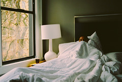 Sleepy Head Get Up (joepersuca) Tags: bed relax beersinbed hotel film medium format mamiya nap 120 afd 55110mm fujifilm pro 400h white bedding iso400 400 iso