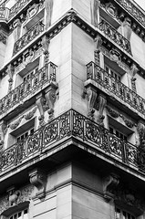 Collage (deborahb0cch1) Tags: façade geometric windows lines curves abstract monochrome blackandwhite architecture building balconies balcony railing collage symmetry