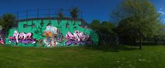 Street art Cardiff, Sevenoaks Park (DJLeekee) Tags: streetart graffiti cardiff sevenoaks park requiem amok best pirates plus rmer