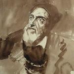 DELACROIX Eugène - Têtes, Etudes d'après la Gravure de L'Autoportrait du Titien (drawing, dessin, disegno-Louvre RF10599) - Detail 42 thumbnail