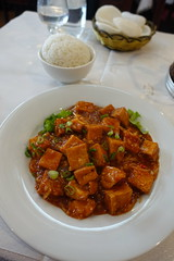 Fried tofu with spicy sauce @ Porte du Bonheur @ Montparnasse @ Paris (*_*) Tags: paris france europe city 2017 april 75015 paris15 spring portedubonheur chinese china restaurant food montparnasse tofu spicy fried soy rice