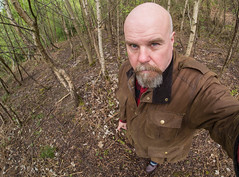 A portrait of i. (CWhatPhotos) Tags: selfee me photographs selfie have it photograph pics pictures pic picture image images foto fotos photography artistic that which contain digital cwhatphotos waldridge north east england uk fell wood woods self portrait brown waxed wax barber jacket goatee man male fisheye wide angle samyang prime lens 75mm olympus four thirds camera